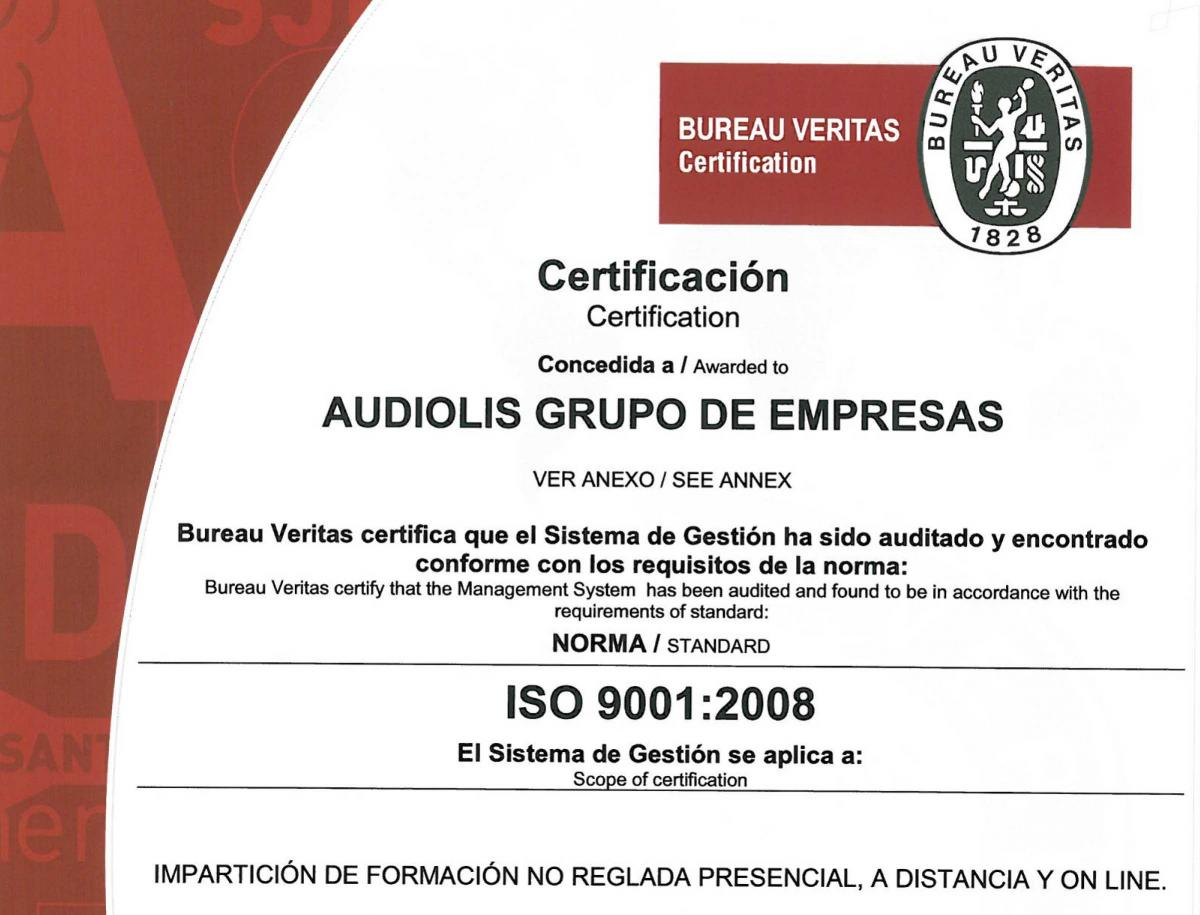 grupo audiol s renueva su certificaci n iso9001 2008. Black Bedroom Furniture Sets. Home Design Ideas