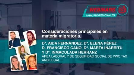 Webinar: Consideraciones principales en materia migratoria
