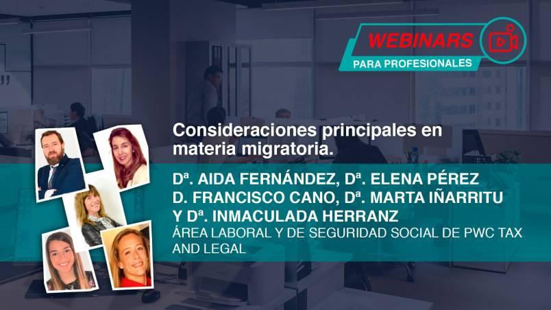 Webinar Consideraciones principales en materia migratoria