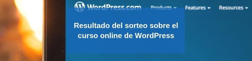 Resultado del sorteo sobre el curso online de WordPress