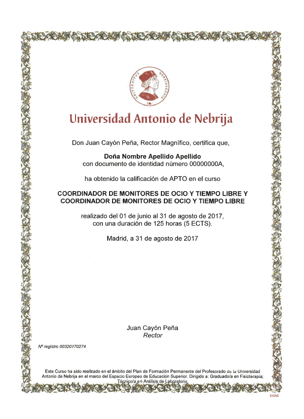 diploma curso certificado nebrija