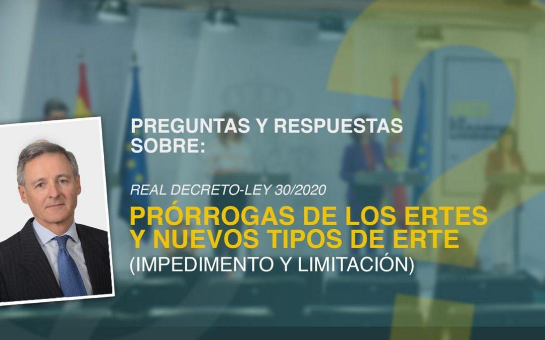 Preguntas y respuestas sobre la prórroga de los ERTES y nuevos ERTES tras el Real Decreto-ley 30/2020